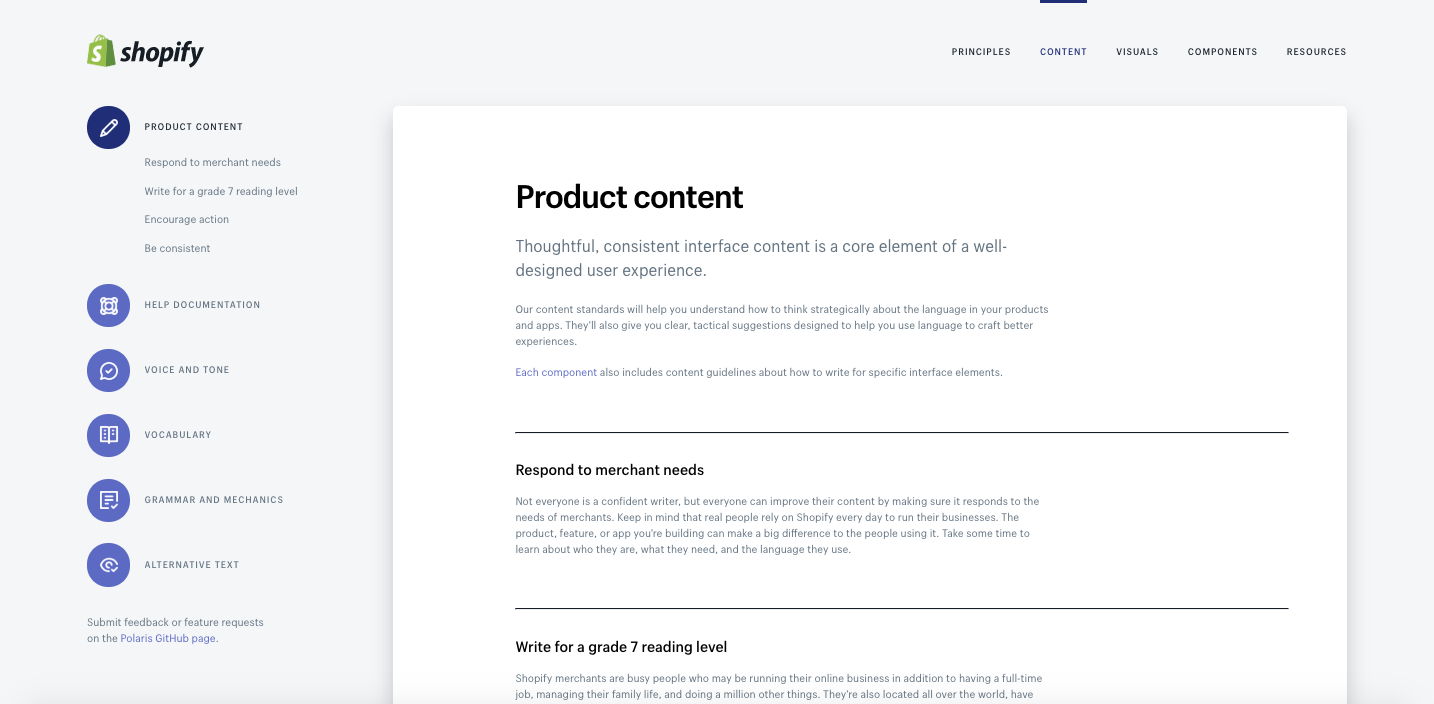 Shopify Product Content